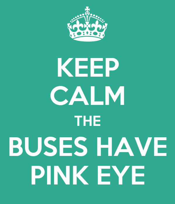 KEEP CALM THE BUSES HAVE PINK EYE