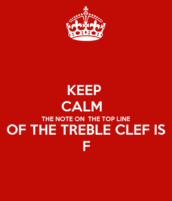 KEEP  CALM   THE NOTE ON  THE TOP LINE OF THE TREBLE CLEF IS F