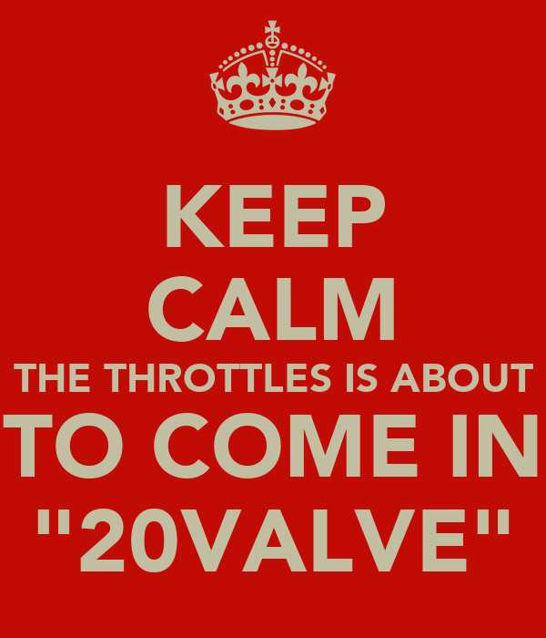 "KEEP CALM THE THROTTLES IS ABOUT TO COME IN ""20VALVE"""