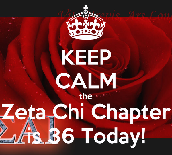 KEEP CALM the Zeta Chi Chapter is 36 Today!