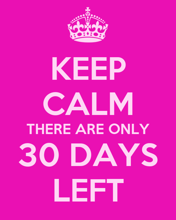 KEEP CALM THERE ARE ONLY 30 DAYS LEFT