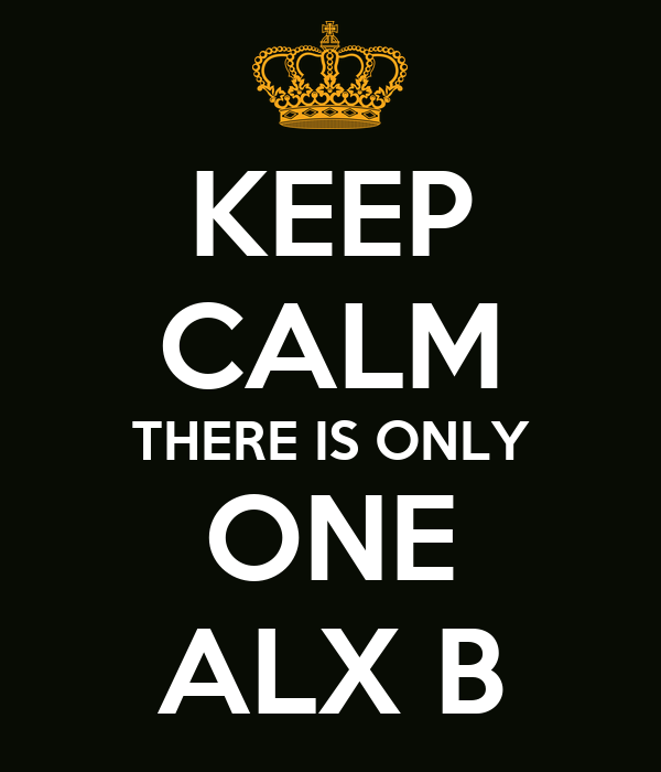 KEEP CALM THERE IS ONLY ONE ALX B