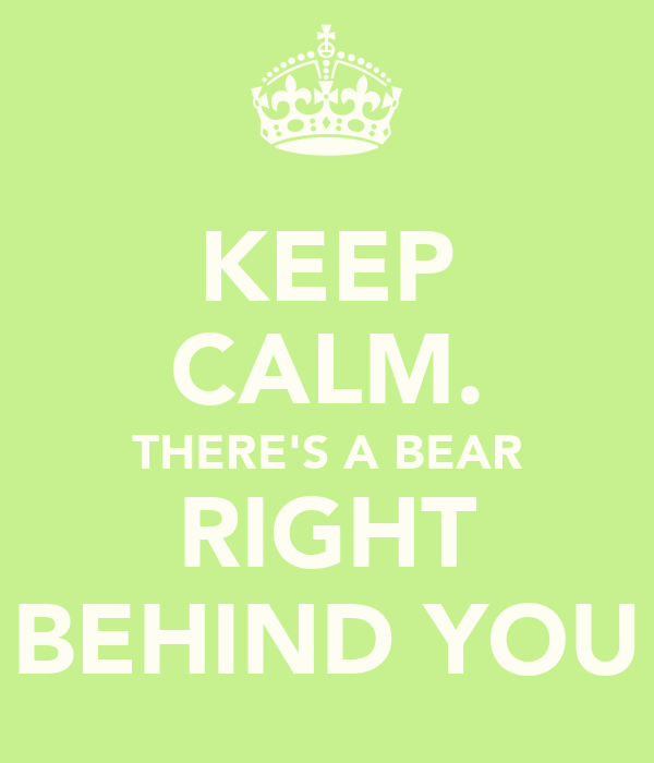 KEEP CALM. THERE'S A BEAR RIGHT BEHIND YOU