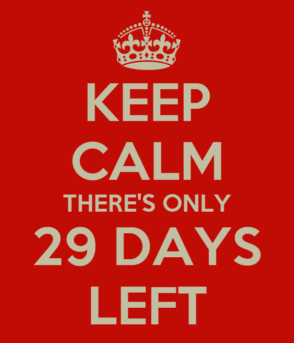 KEEP CALM THERE'S ONLY 29 DAYS LEFT