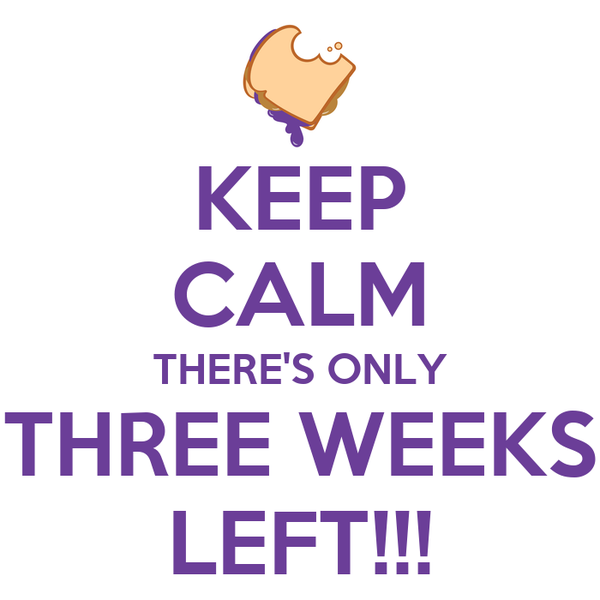 KEEP CALM THERE'S ONLY THREE WEEKS LEFT!!!