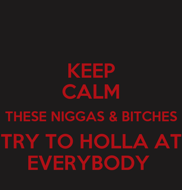 KEEP CALM THESE NIGGAS & BITCHES TRY TO HOLLA AT EVERYBODY