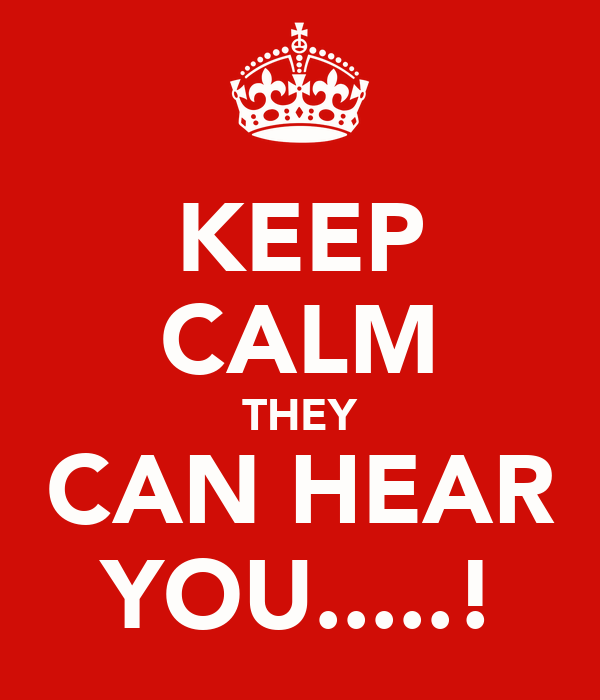 KEEP CALM THEY CAN HEAR YOU.....!