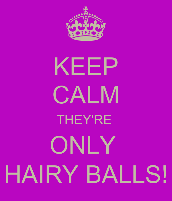 KEEP CALM THEY'RE  ONLY  HAIRY BALLS!