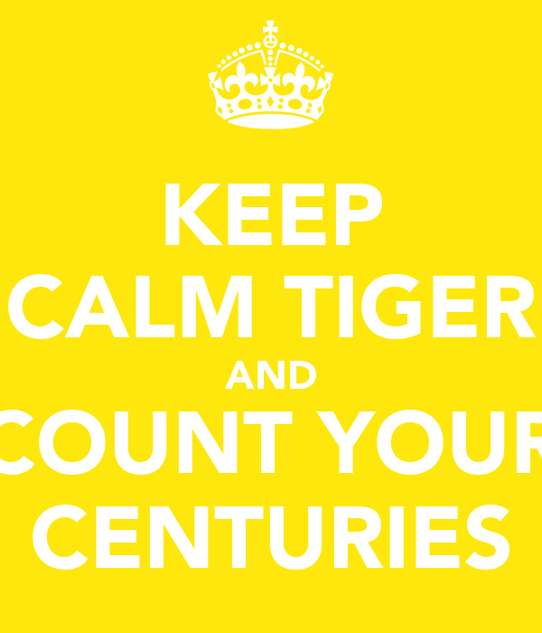 KEEP CALM TIGER AND COUNT YOUR CENTURIES