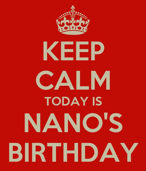 KEEP CALM TODAY IS NANO'S BIRTHDAY