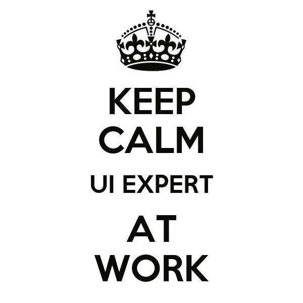 KEEP CALM UI EXPERT AT WORK
