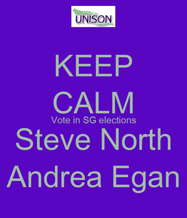 KEEP CALM Vote in SG elections Steve North Andrea Egan
