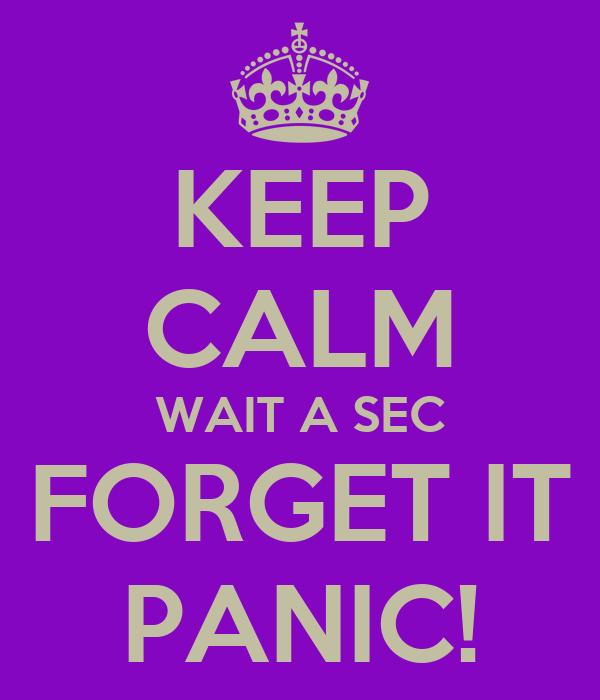 KEEP CALM WAIT A SEC FORGET IT PANIC!