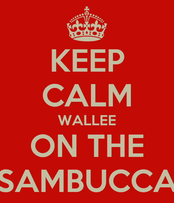 KEEP CALM WALLEE ON THE SAMBUCCA