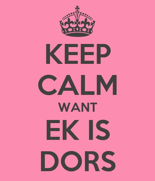 KEEP CALM WANT EK IS DORS
