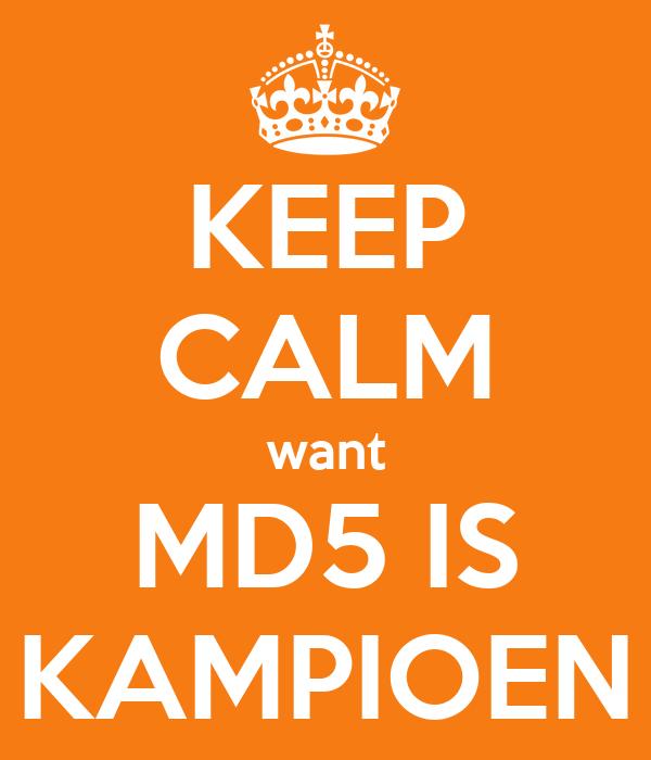 KEEP CALM want MD5 IS KAMPIOEN