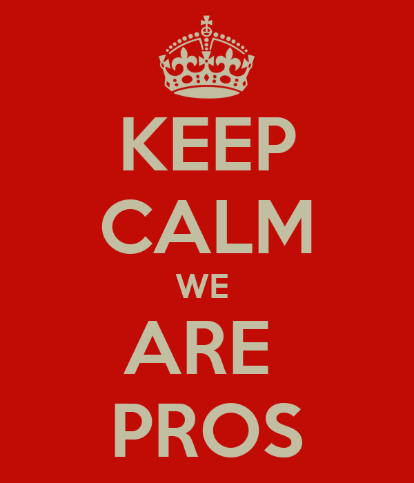 KEEP CALM WE  ARE  PROS