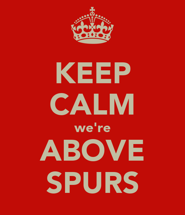 KEEP CALM we're ABOVE SPURS
