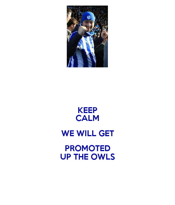 KEEP CALM WE WILL GET PROMOTED UP THE OWLS