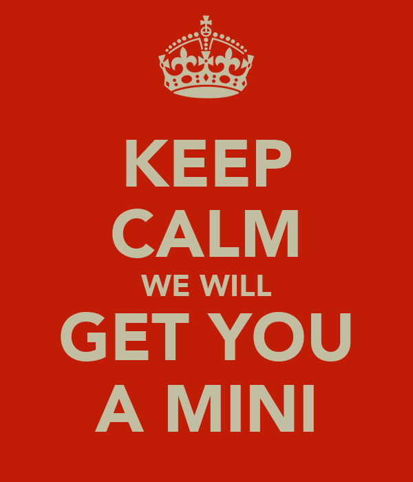 KEEP CALM WE WILL GET YOU A MINI