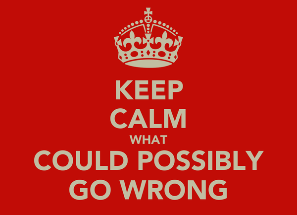 KEEP CALM WHAT COULD POSSIBLY GO WRONG