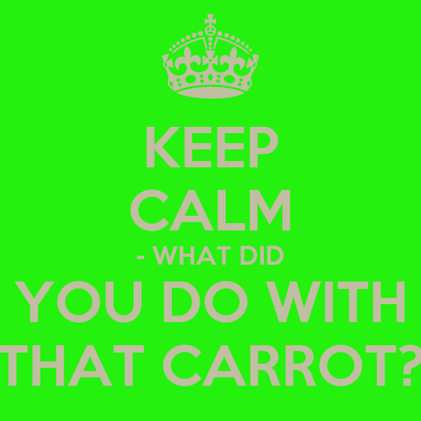 KEEP CALM - WHAT DID YOU DO WITH THAT CARROT?