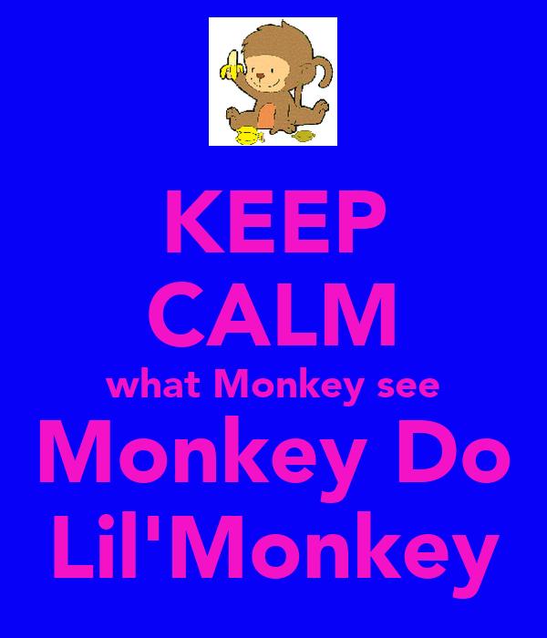 KEEP CALM what Monkey see Monkey Do Lil'Monkey