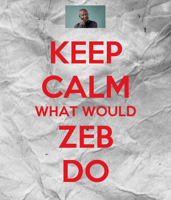 KEEP CALM WHAT WOULD ZEB DO