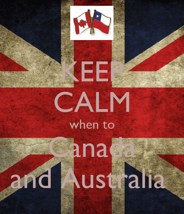 KEEP CALM when to Canada and Australia