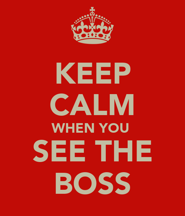 KEEP CALM WHEN YOU  SEE THE BOSS