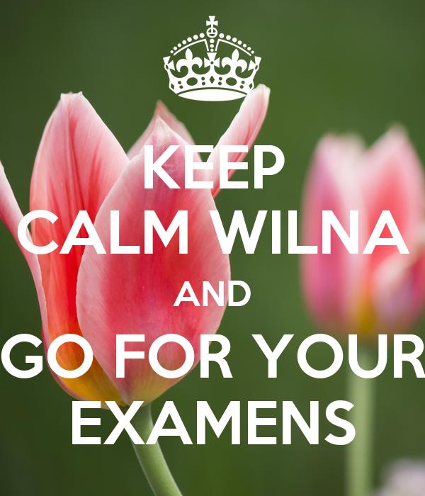 KEEP CALM WILNA AND GO FOR YOUR EXAMENS