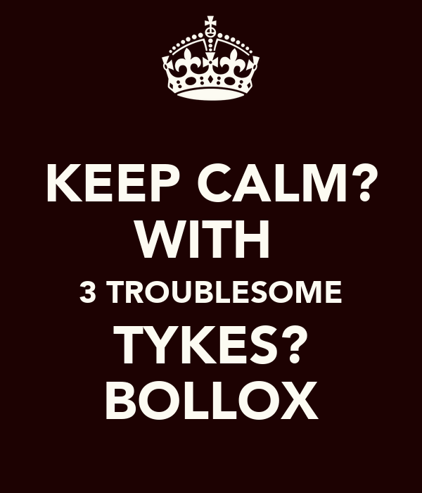 KEEP CALM? WITH  3 TROUBLESOME TYKES? BOLLOX