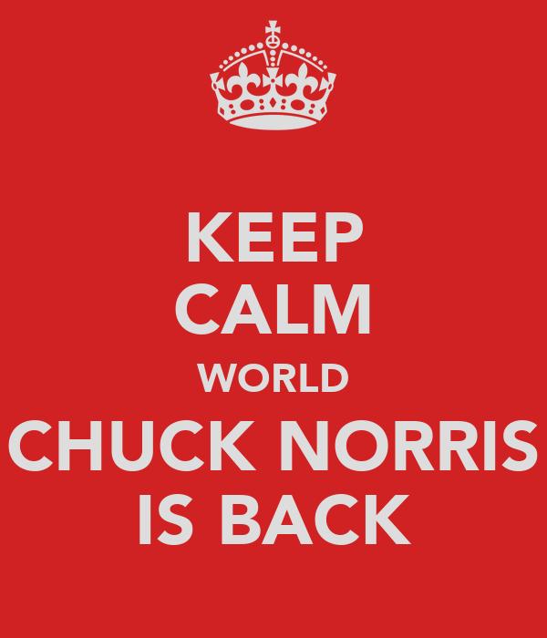 KEEP CALM WORLD CHUCK NORRIS IS BACK