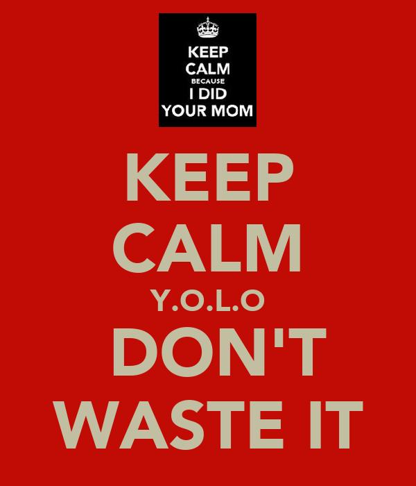 KEEP CALM Y.O.L.O  DON'T WASTE IT