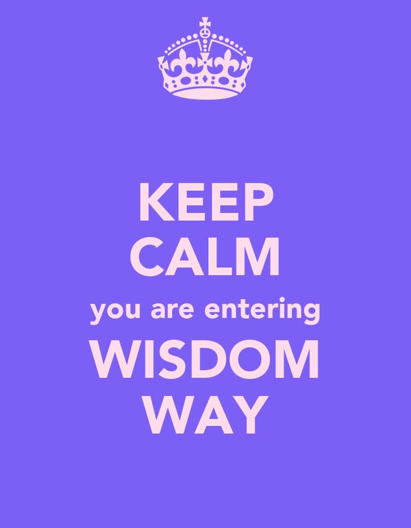 KEEP CALM you are entering WISDOM WAY