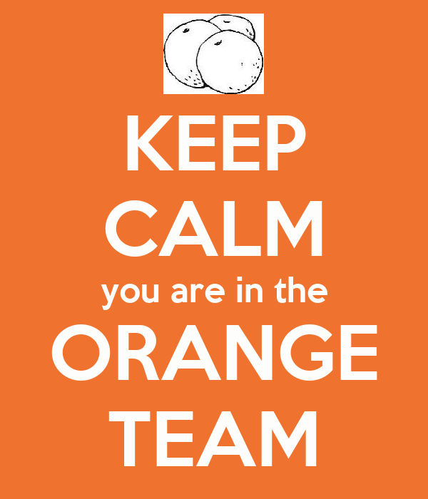 KEEP CALM you are in the ORANGE TEAM