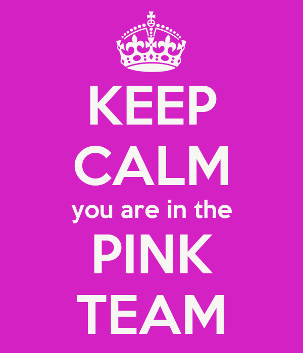 KEEP CALM you are in the PINK TEAM