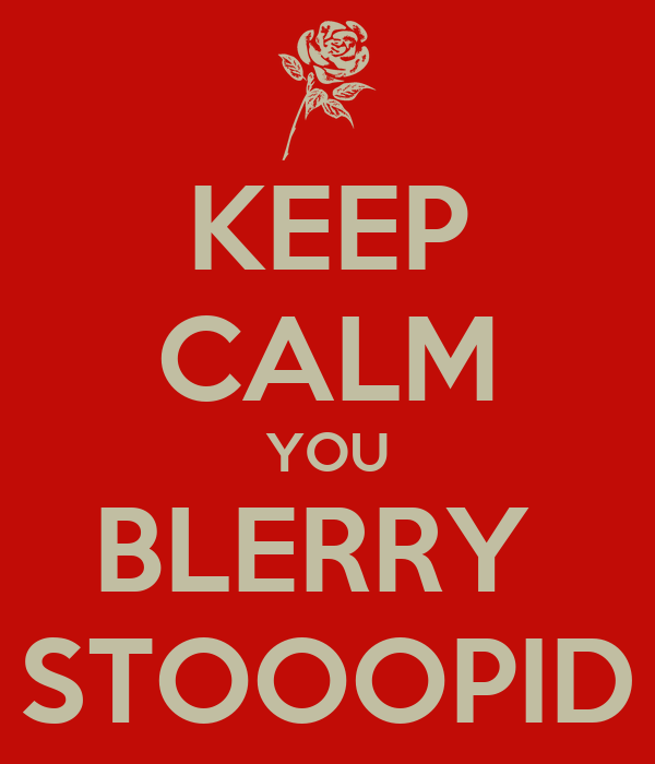 KEEP CALM YOU BLERRY  STOOOPID