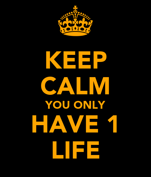 KEEP CALM YOU ONLY HAVE 1 LIFE