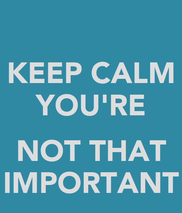 KEEP CALM YOU'RE  NOT THAT IMPORTANT