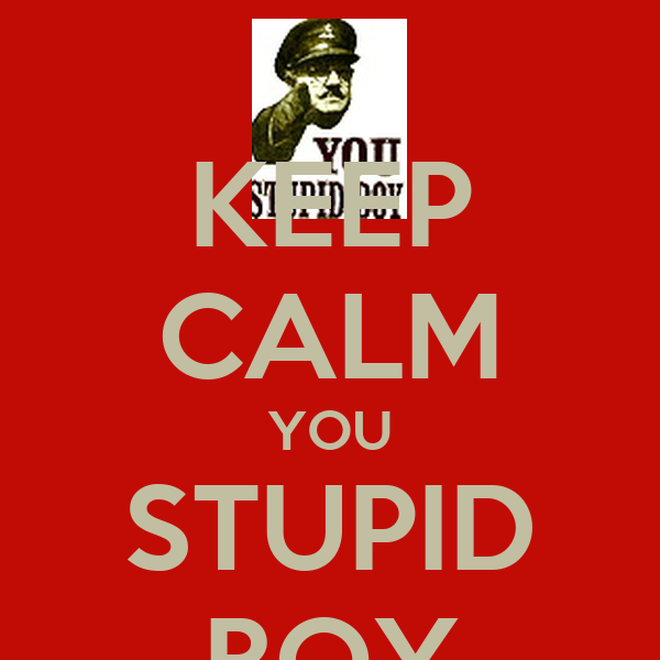 KEEP CALM YOU STUPID BOY