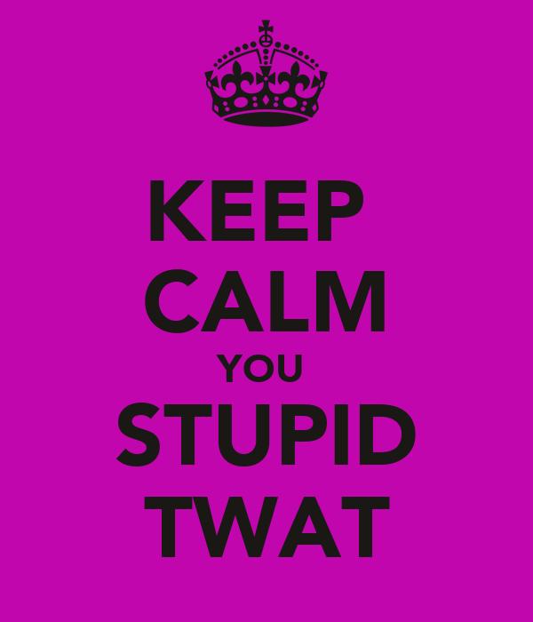 KEEP  CALM YOU  STUPID TWAT