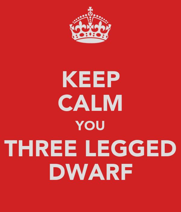 KEEP CALM YOU THREE LEGGED DWARF