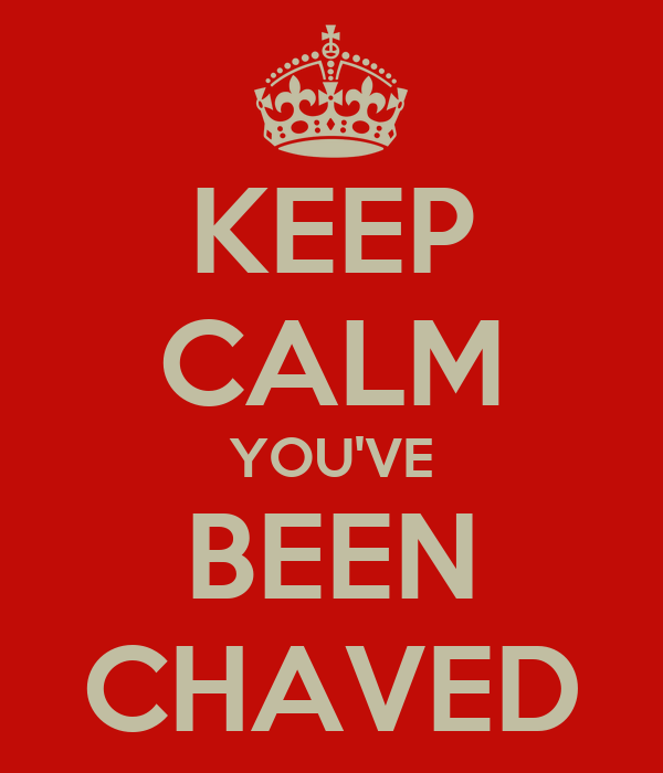 KEEP CALM YOU'VE BEEN CHAVED