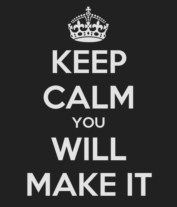 KEEP CALM YOU WILL MAKE IT