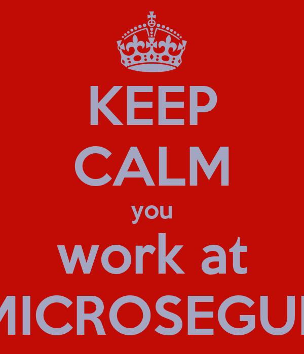 KEEP CALM you work at MICROSEGUR