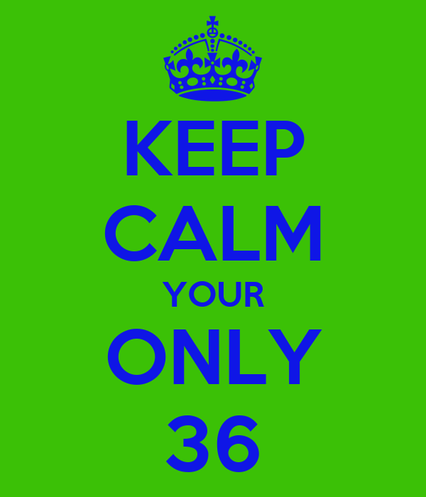 KEEP CALM YOUR ONLY 36