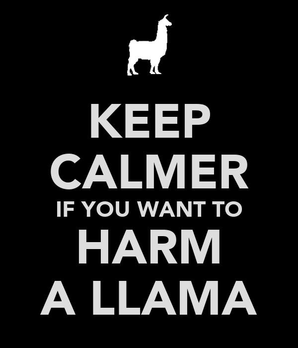 KEEP CALMER IF YOU WANT TO HARM A LLAMA
