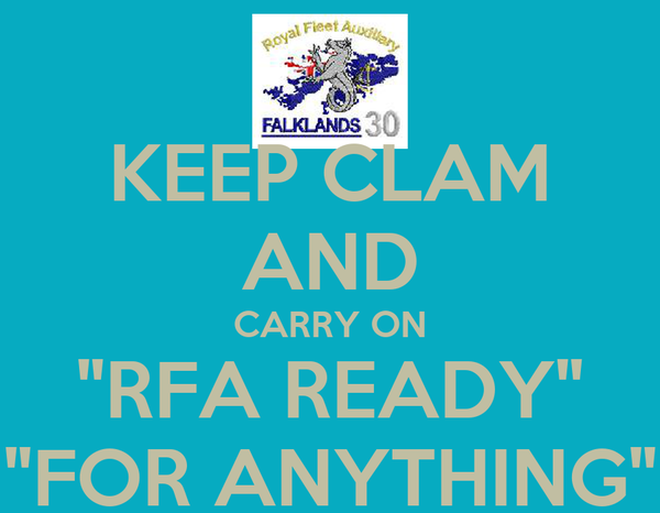 """KEEP CLAM AND CARRY ON """"RFA READY"""" """"FOR ANYTHING"""""""