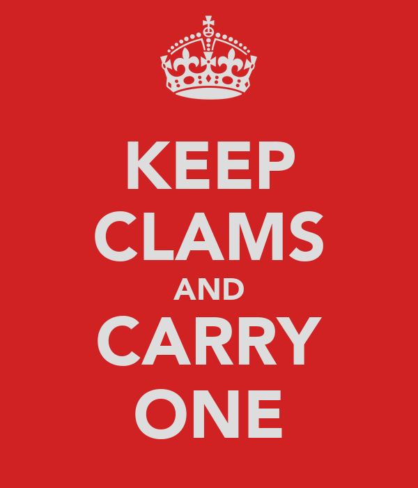 KEEP CLAMS AND CARRY ONE